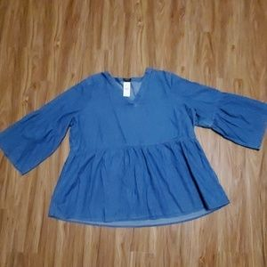 NWT Lane Bryant Chambray Peplum Top With Bell Slee